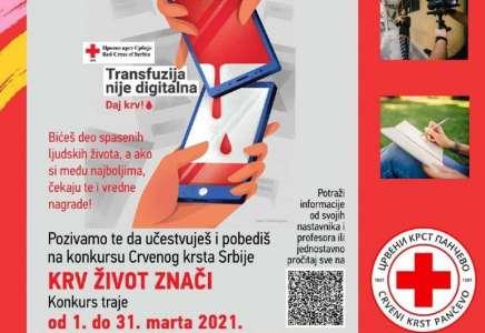 """Raspisan literarni i likovni konkurs """"Krv život znači"""""""