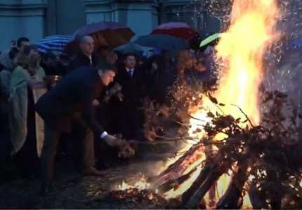 Paljenje badnjaka u pravoslavnim hramovima u Pančevu