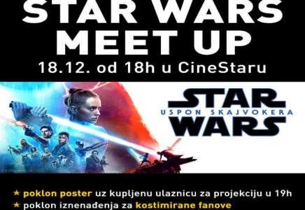 Od srede 18. decembra film Star Wars: Uspon Skajvokera pretpremijerno u CineStaru, a od 18 sati STAR WARS MEET UP u baru bioskopa